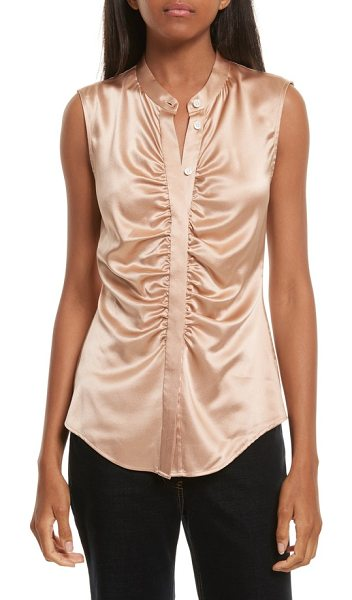 Theory ruched fitted stretch silk blouse in chalk pink - Ruching along the placket adds elegance (and a bit of...