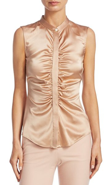 Theory ruched silk top in chalkpink - On-trend silk-blend top with ruched detailing. Crewneck....