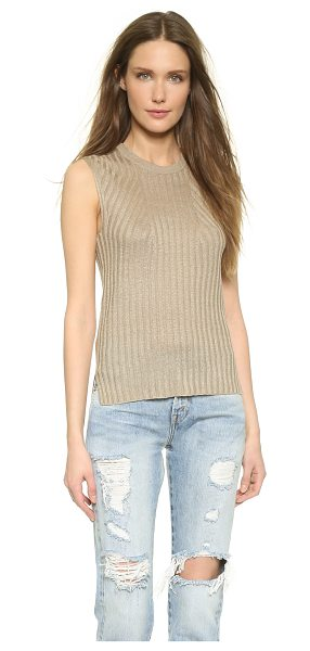 Theory Sag harbor koronee sweater in light clay - Allover ribbing brings a timeless look to this crew neck...