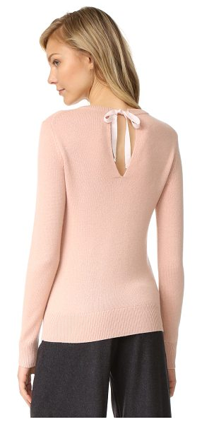 Theory salomina cashmere sweater in pale rose - A grosgrain ribbon secures the back keyhole on this...
