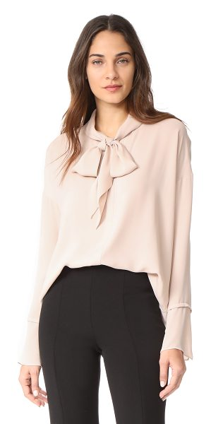 Theory scarf shirt b in pink clay - An airy, crepe Theory blouse finished with scarf ties at...