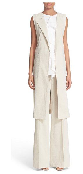 Theory skea crunch sleeveless linen blend blazer in natural - Draping lapels and generous patch pockets adorn the...