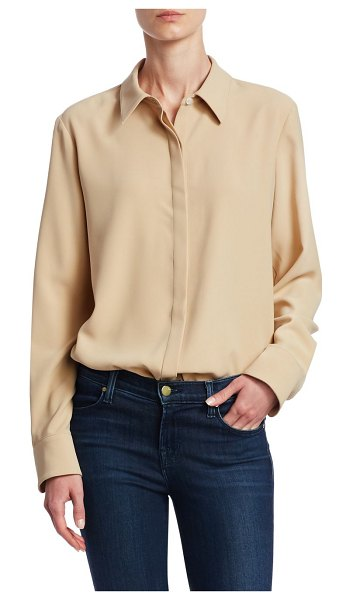 Theory sunaya crepe blouse in nude - Button-down blouse ideal for a casual-chic ensemble....