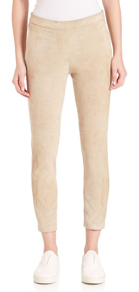 Theory thaniel leather pants in classic khaki - Classic trousers in supple leather. Belt loops. Zip fly...