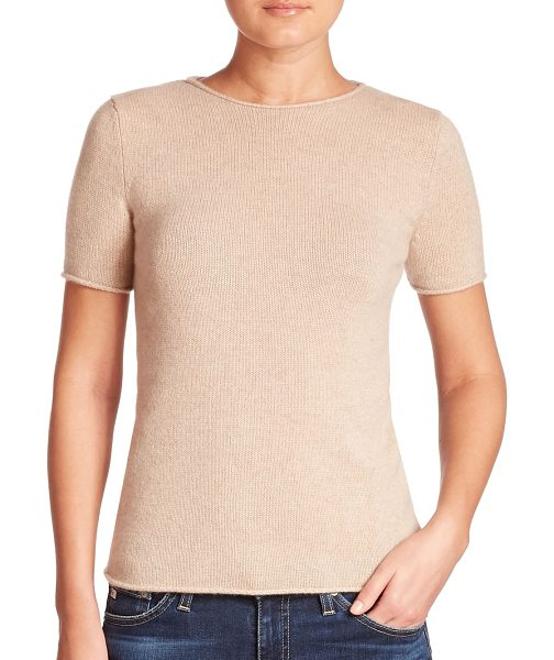 Theory tolleree cashmere tee in natural - Rib-knit tee crafted from luxe cashmere. Jewelneck....