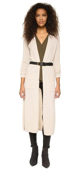 Theory Torina cashmere cardigan in oatmeal heather - This cashmere Theory cardigan sweater has side slits and...