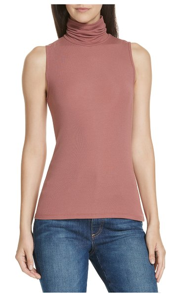 Theory 'wendel' sleeveless turtleneck top in antique rose - A ribbed, stretch-knit design eases the trim fit of a...