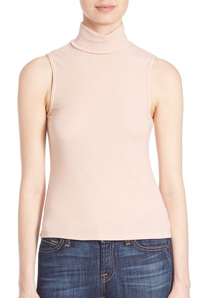 Theory wendel turtleneck jersey tank in blush - Simply chic, this wardrobe essential seamlessly...