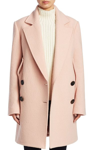 Theory wool cape coat in pink - Double breasted cape coat in opulent wool. Notch lapels....