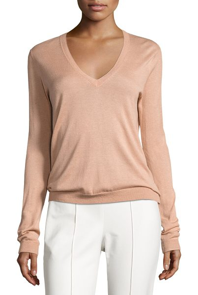 "Theory Yulia Silk-Blend V-Neck Sweater in pale rose - Theory ""Yulia"" sweater with finely ribbed neckline,..."