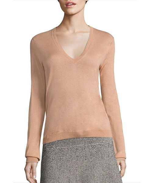 THEORY yulia v silk-blend sweater - Luxe silk-blend sweater in slouchy silhouette.V-neck....