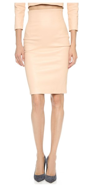 ThePerfext Amsterdam stretch leather skirt in camel - This sleek leather pencil skirt is cut with a slim high...
