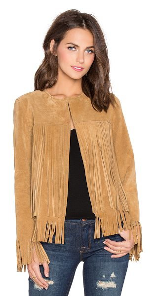 ThePerfext April fringe suede jacket in tan - Self: 100% genuine leatherLining: 100% acetate....