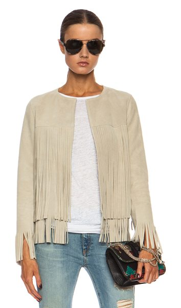 ThePerfext April fringe suede jacket in neutrals - ThePerfext is a collaboration between Elyse Walker and...