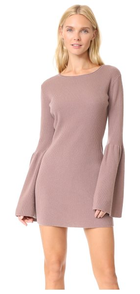 ThePerfext bell sleeve cashmere dress in rose - This ribbed ThePerfext sweater dress is cut slim and...