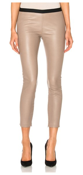 ThePerfext Brittany Cropped Pant in taupe - Self: 100% genuine leatherLining: 100% acetate. Made in...