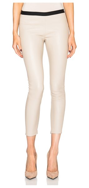 ThePerfext Brittany leather pants with hidden zipper in neutrals - Self: 100% leather - Trim: 100% elastan.  Made in USA. ...