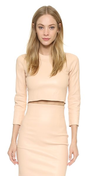 THEPERFEXT Bronx leather cropped top in camel - A fitted ThePerfext crop top in sleek stretch leather....