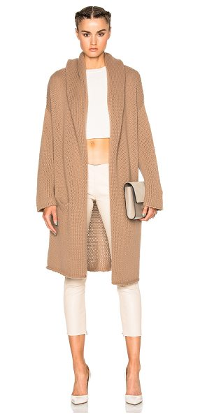 ThePerfext Collette Cozy Long Sweater in brown - 100% cashmere.  Made in China.  Knit fabric.  Open...