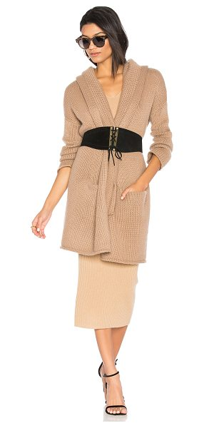 THEPERFEXT Collette Sweater Wrap in brown - 100% cashmere. Dry clean only. Open front. Attached...