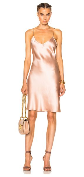 ThePerfext for FWRD Alessandra Short Slip Dress in pink - 100% silk. Made in USA. Dry clean only. Unlined....