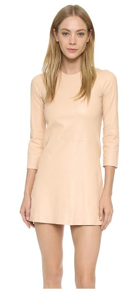ThePerfext Harlem leather dress in camel - A daring leather mini dress from ThePerfext. Crew...