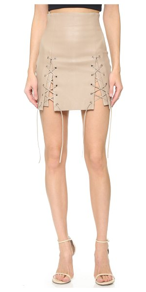ThePerfext Laced hem miniskirt in oatmeal - A sexy leather ThePerfext miniskirt with daring lace up...