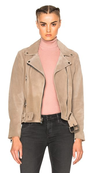 ThePerfext London Belted Suede Moto Jacket in neutrals - Self: 100% calfskin suede - Lining: 55% poly 45% rayon. ...
