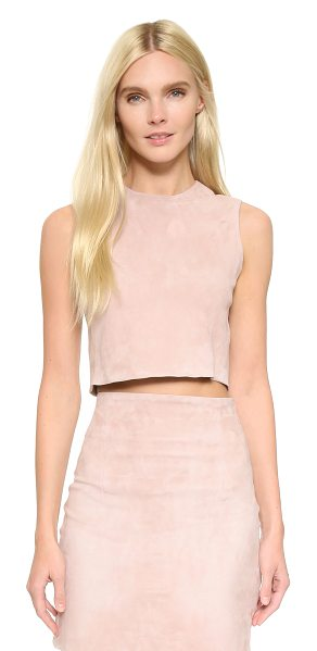 ThePerfext Theperfext Maya Suede Crop Top in dusty rose - An edgy ThePerfext crop top in stretch suede. Exposed...