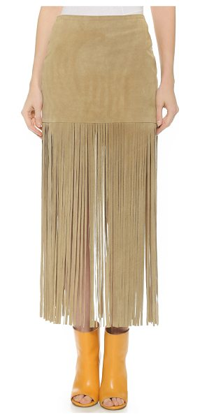 ThePerfext Mimi fringe skirt in tan suede