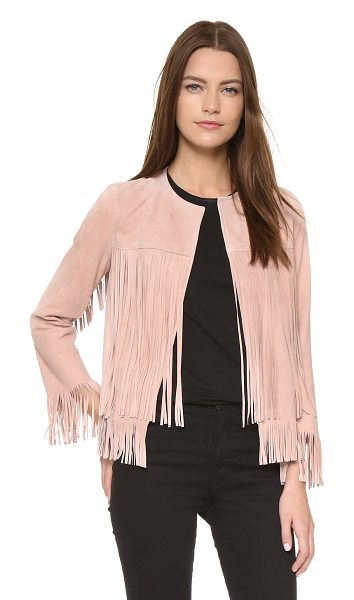 ThePerfext Ryder jacket in dusty rose - Luxe, velvety suede composes this fringed ThePerfext...
