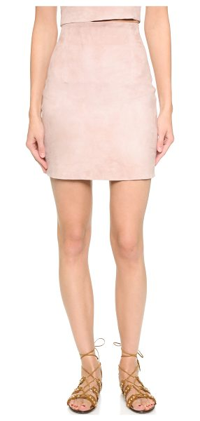 ThePerfext Suede high waisted miniskirt in dusty rose - A sleek, formfitting ThePerfext miniskirt in plush...