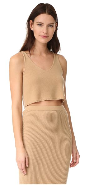 ThePerfext v neck cashmere tank in honey - A luxe cashmere ThePerfext tank in a cropped profile. V...