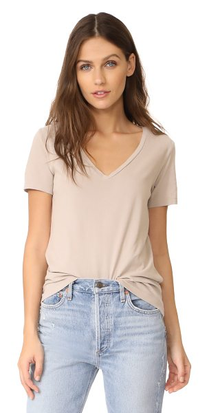 Three Dots classic v neck tee in beige sand - A soft jersey Three Dots tee with a plunging V neckline....