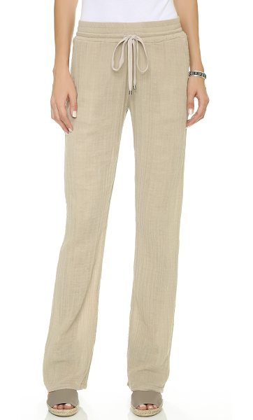 Three Dots Double gauze wide leg pants in caribbean sand - Casual Three Dots pants styled in double layered gauze....