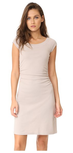 Three Dots heritage rib dress with ruched waist in beige sand - A slim-fit Three Dots dress with a ribbed boat neckline....