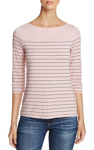 Three Dots Pinstripe Tee in rosebud - Three Dots Pinstripe Tee-Women