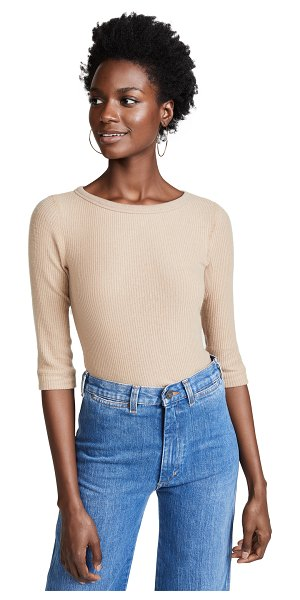 Three Dots ribbed 3/4 sleeve pullover in camel - Fabric: Ribbed knit Ribbed neckline Seamless cuffs & hem...