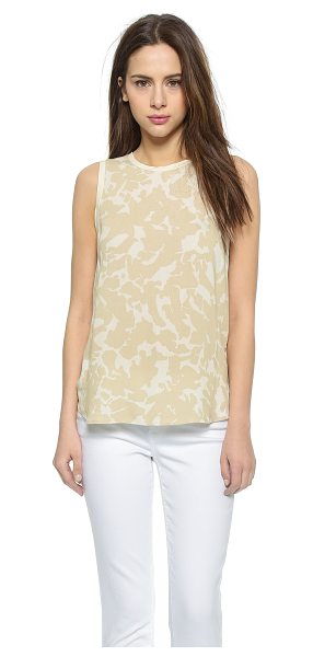 Three Dots Sleeveless blouse in caribbean sand - Slim banding traces the edges of this printed crepe...