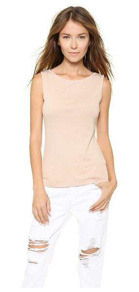 Three Dots sleeveless boat neck top in chai latte