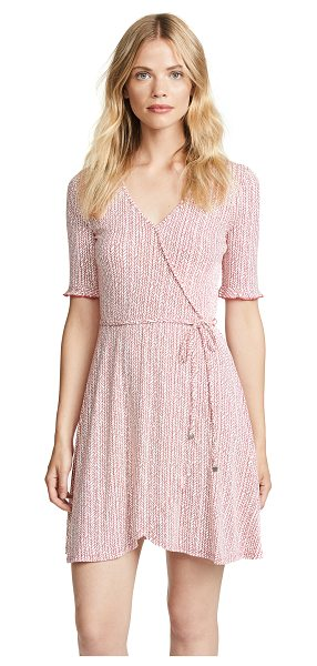 Three Dots wrap dress in red clay - Fabric: Jersey Faux wrap silhouette Print pattern...