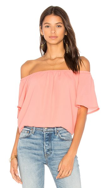 Three Eighty Two Eli Top in coral - 100% poly. Elasticized neckline. TEIG-WS127. TR 197....