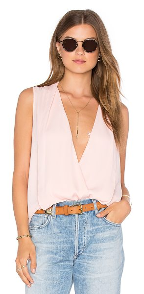 Three Eighty Two Monroe Surplice Top in pink - 100% poly. Surplice neckline with button closure. Draped...