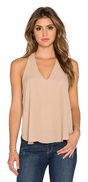 Three Eighty Two Owen v racerback tank in tan - 100% poly. Racerback. Partially lined. TEIG-WS49. TR...