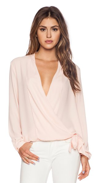 Three Eighty Two Stella surplice top in pink - 100% poly. Front button closure. Elasticized hem....