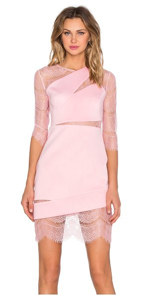 Three Floor Aura mini dress in pink - Nylon blend. Dry clean only. Unlined. Sheer lace panel...