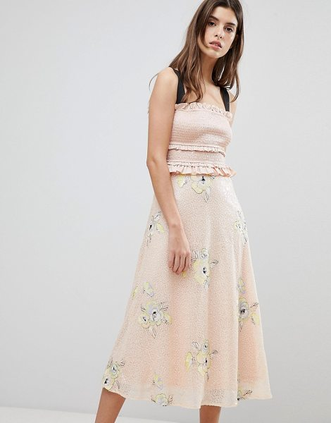Three Floor midi dress with frill detail in blush - Midi dress by Three Floor, For fancier plans, Shirred,...