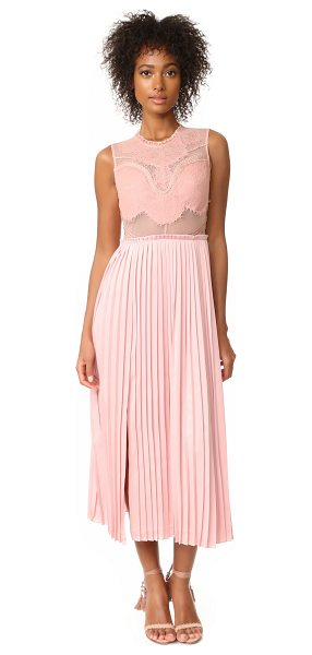 THREE FLOOR pop of peony lace dress in peony pink - NOTE: Three Floor uses special sizing. Sheer panels add...