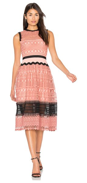 Three Floor Tea Rose Dress in pink - Poly blend. Dry clean only. Fully lined. Allover lace...