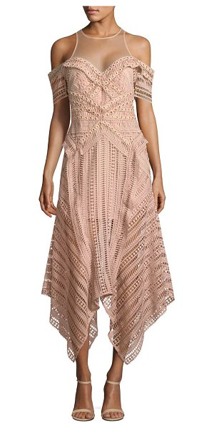 Thurley sand dune dress in nude - Embroidered eyelet midi dress. Roundneck. Mesh yoke....
